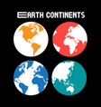 super set different parts globe vector image vector image