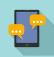 tablet sms chat icon flat style vector image vector image