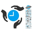 Time Care Hands Flat Icon With Bonus vector image vector image