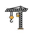 tower construction crane cabin hook industrrial vector image vector image
