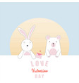 valentines day card with bunny and bear in love