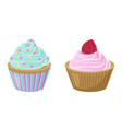 various cakes with cupcakes vector image vector image