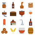 whisky bottle glass icons set isolated vector image