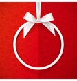 White holiday round frame with bow and silky vector image vector image