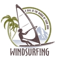 windsurfing emblem on a white background vector image vector image