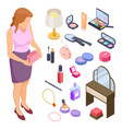 women cosmetics and accessories isometric vector image