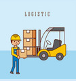 worker forklift with cardboard boxes logistic vector image vector image