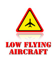 yellow warning low flying aircraft icon background vector image vector image
