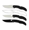Folding pocket knifes icons vector image