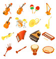 musical instruments icons set isometric style vector image