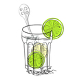 a glass of water with lime vector image