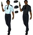 African male police officer holds taser vector image