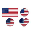american flags in different shapes with frame vector image