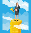 businesswoman holding trophy at coins vector image