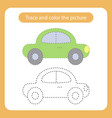 car toy with simple shapes trace and color the vector image vector image