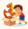cheerful kid with toying horse colorful poster vector image