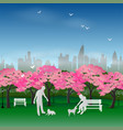 couple happy and relax in the sakura park vector image vector image