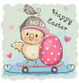 cute cartoon chicken and egg vector image vector image