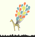 Cute hand drawn giraffe flying on the balloons - vector image vector image