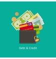 Debt and Credit cartoon vector image