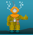diver in an old suit and scuba diving helmet vector image