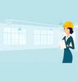 female architect draws floor plan for design vector image