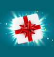 gift box and magic light fireworks and confetti vector image