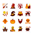 halloween icon set flat design symbol collection vector image