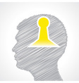 Hand drawn man s face with key hole in his head vector image