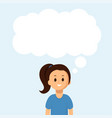 happy girl with big speech bubble on blue vector image