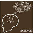 Human head and icons of science vector image vector image