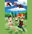kids flying kite vector image vector image