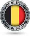 made in belgium silver label with flag vector image vector image