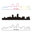 Omaha skyline linear style with rainbow vector image vector image