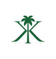 palm tree kk double k letter mark logo icon vector image vector image