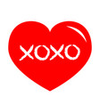 red heart shining icon xoxo phrase sketch saying vector image vector image