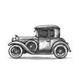 retro car drawn in engraving style vintage vector image