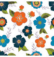 seamless pattern with color flower romantic vector image vector image