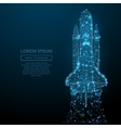 space shuttle low poly blue vector image vector image