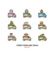 street food truck sign color thin line icon set vector image