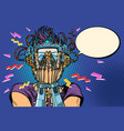 surprised cyborg woman in vr glasses vector image vector image