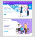 teamwork cooperation business plan web vector image vector image