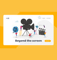 tiny characters making movie landing page template vector image vector image