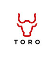 toro bull head line logo icon vector image vector image
