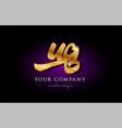 ug u g 3d gold golden alphabet letter metal logo vector image vector image