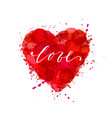 watercolor heart with inscription love hand drawn vector image
