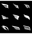 white wing icon set vector image vector image