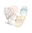 woman face with magnolia flower in continuous line vector image vector image