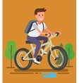 Young man with bike vector image