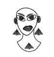 art drawing portrait of original girl vector image